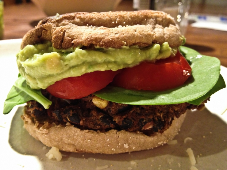 Vegan Black Bean Burger with Avocado Cream