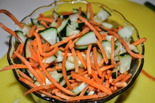 cucumber carrots and ginger
